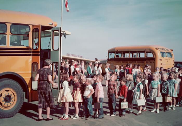 Kids Ready To Board The School Bus