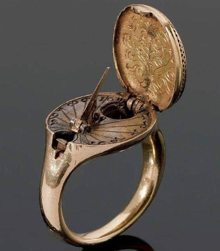 A Rare Gold Sundial And Compass Ring From The 16th Century