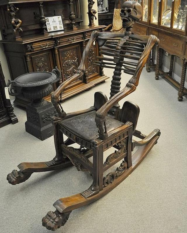 Wooden Skeleton Rocking Chair Was Made In Russia During The 19th Century