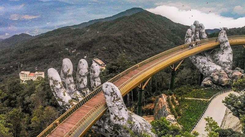 The Cau Vang Golden Bridge Sits On Two Massive Stone Hands