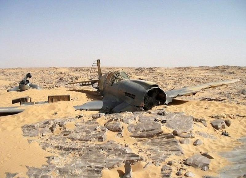 The Wreckage Of A Kittyhawk P-40 In The Sahara Desert
