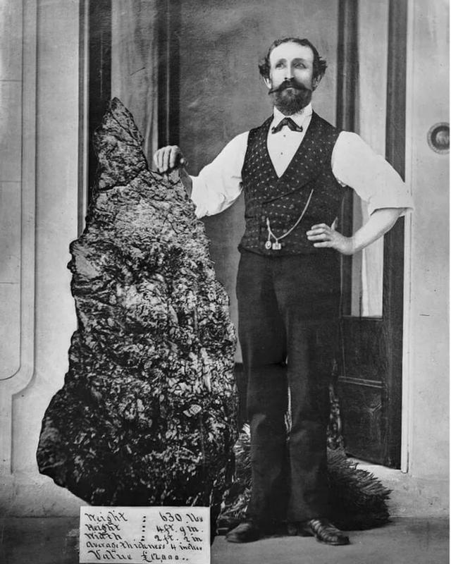 Bernhardt Otto Holtermann With His 630-Lbs Gold Nugget