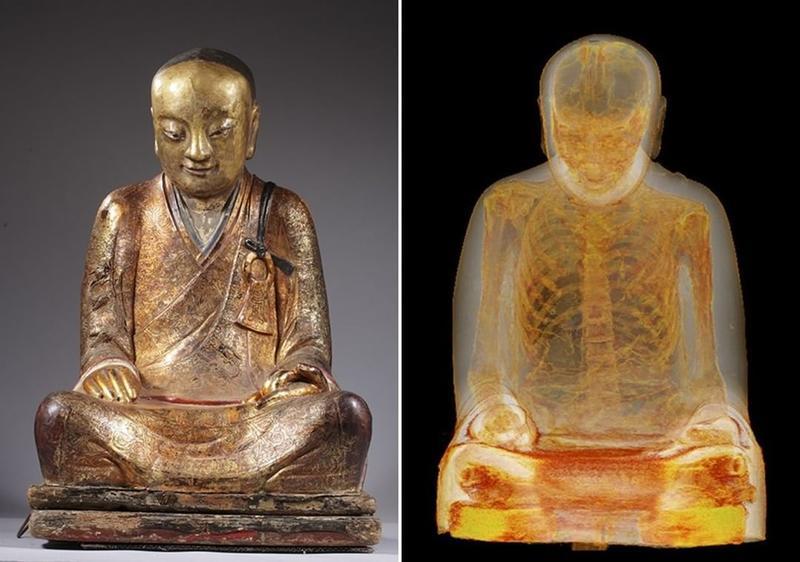A Mummified Monk Inside A Buddha Statue